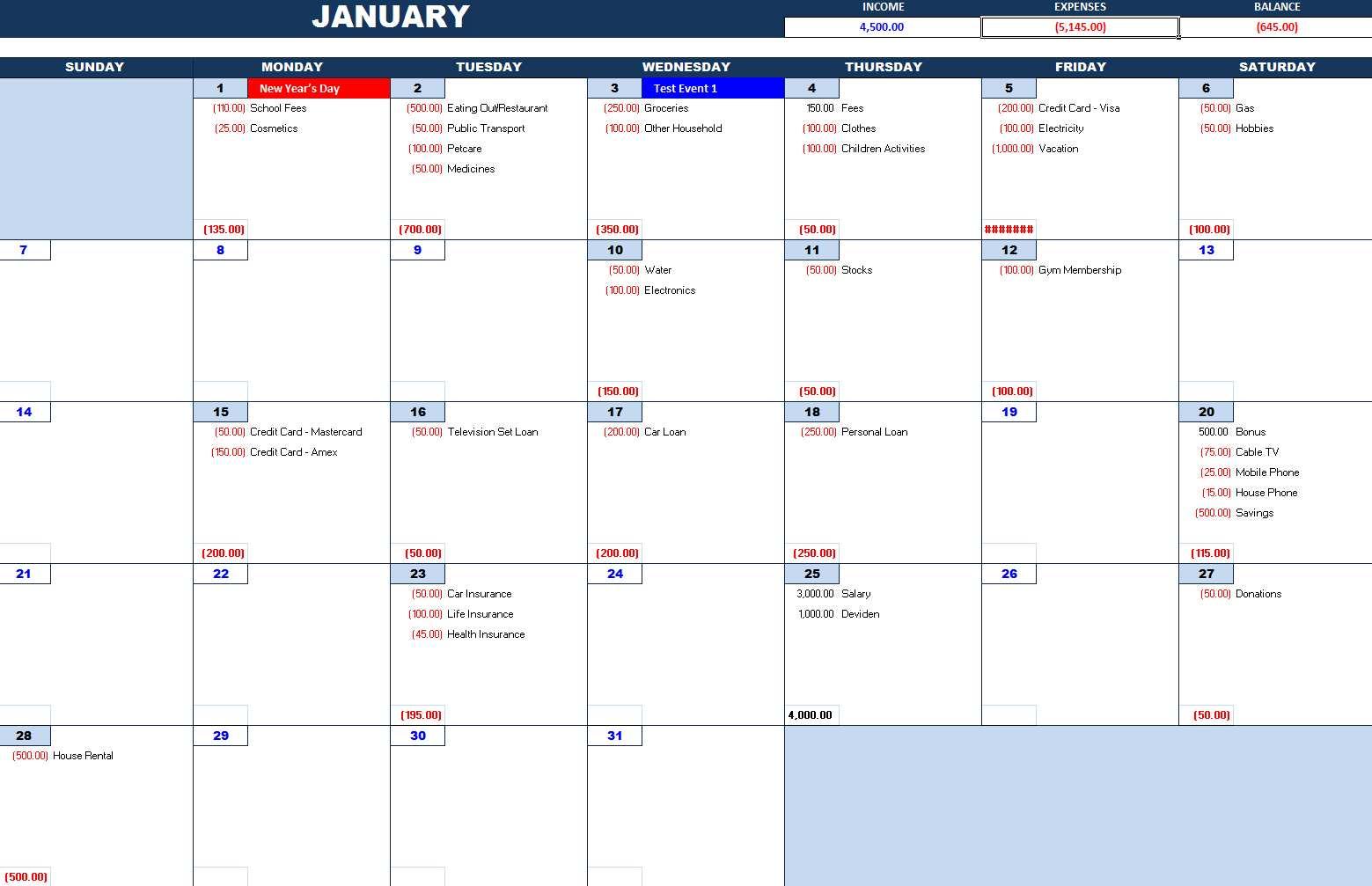 Bill Payment Calendar Excel Calendars