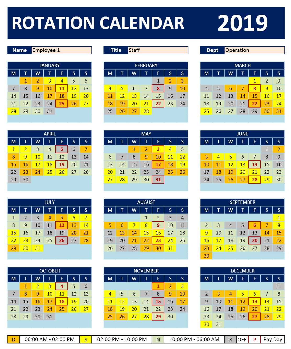 Shift Work Rotation Schedule Calendar Excelcalendars