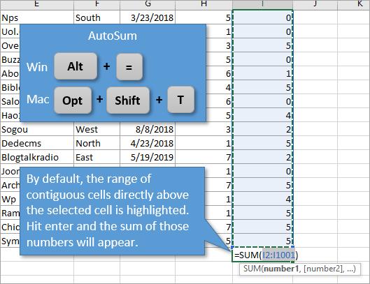 AutoSum with Alt + equals