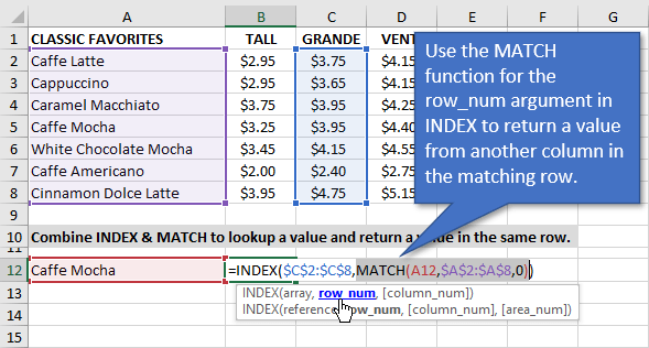 INDEX MATCH formula as VLOOKUP Replacement