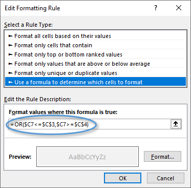 Edit Formatting Rule