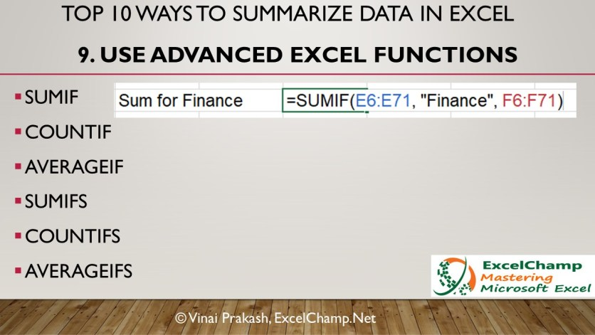 Advanced SUMIF Functions to Summarize Data