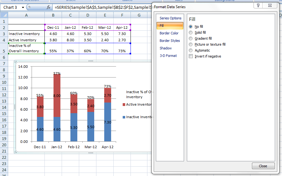 How to put percentage labels on top of a stacked column chart then we need to change the fill color to no fill the excel graph is looking good ccuart Gallery