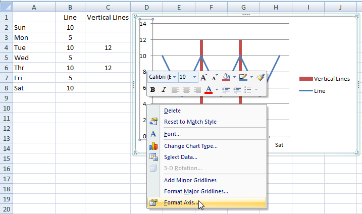 how to make vertical line excel