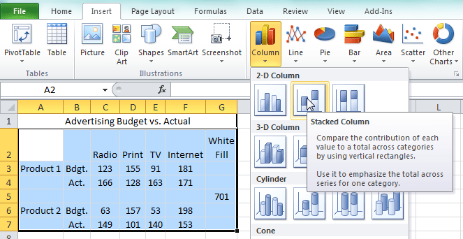 how to create a clustered column chart in excel 2013