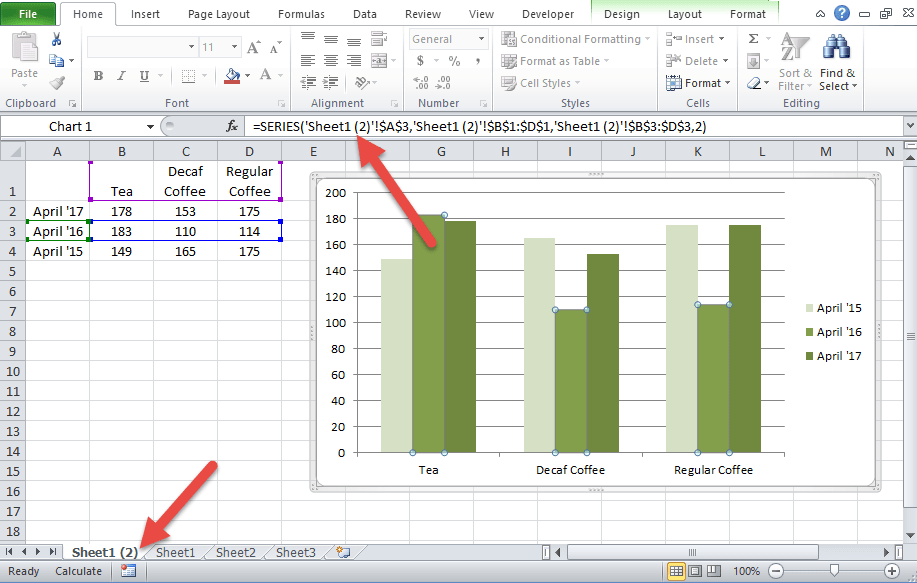 Copy an Excel Chart on Same Worksheet Keeps Same Data Reference Worksheet Copy