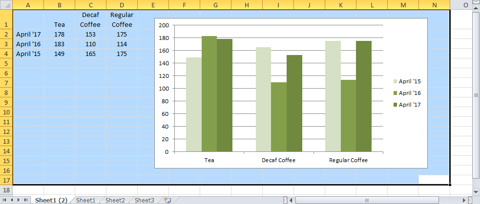 Hightlight Excel Chart and Data in the Worksheet
