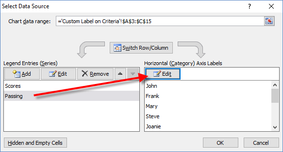 Select Data Source Dialog Box of Passing Series for Dynamic Label ...