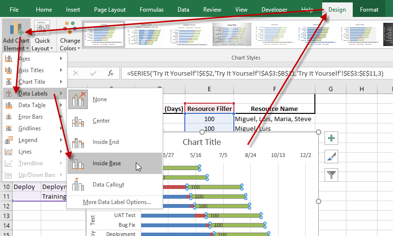 Excel 2016 Gantt Chart Add Data Labels