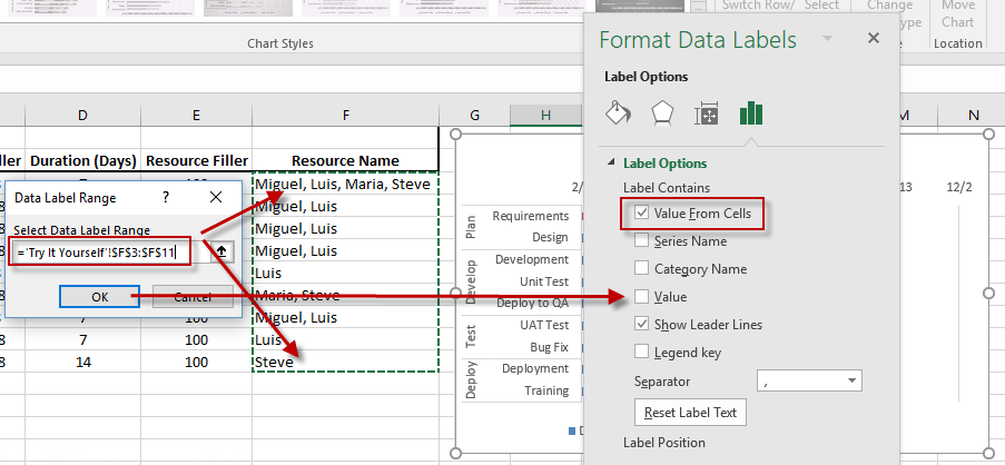 Excel 2016 Gantt Chart Modify Data Labels