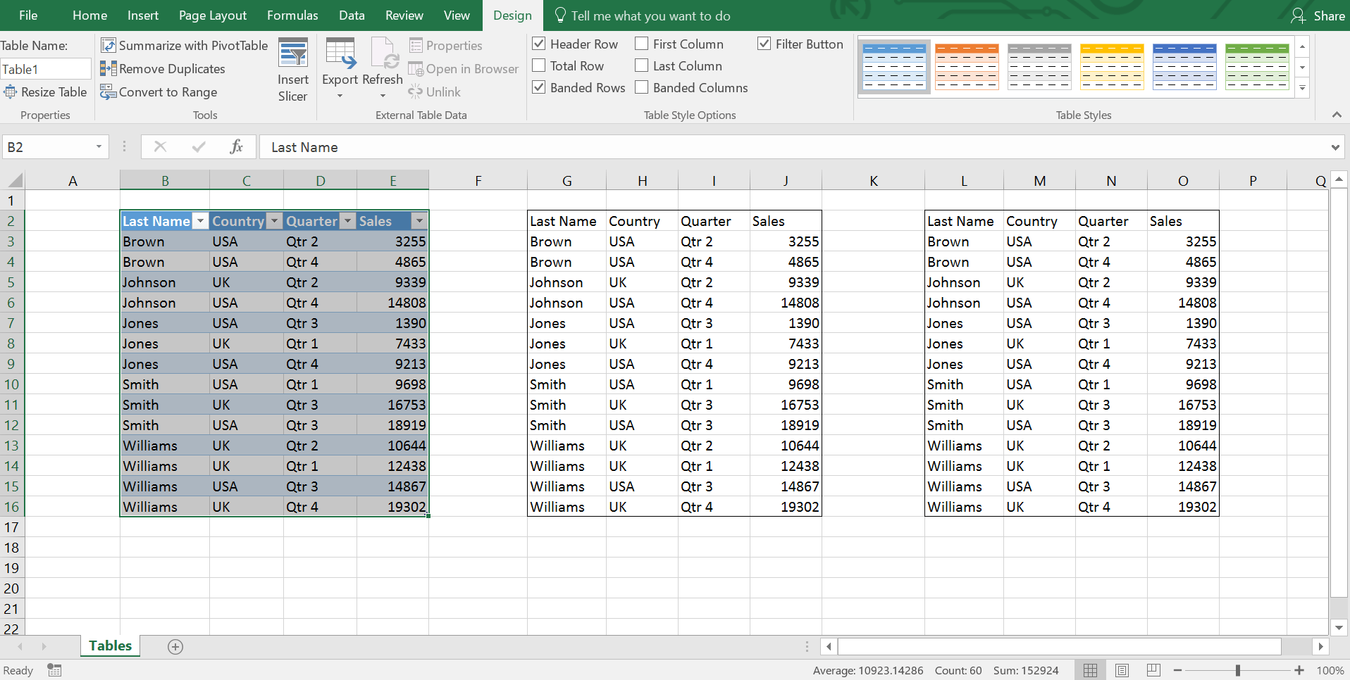 Excel Table Formatting Tips
