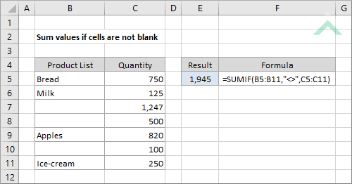 Sum Values If Cells Are Not Blank
