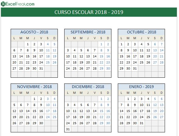 Calendario Escolar Aragon 2020.Calendario Escolar 2018 2019 En Excel Para Imprimir Excelfreak