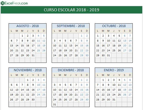 Calendario Escolar 2020 2020 Comunidad Valenciana.Calendario Escolar 2018 2019 En Excel Para Imprimir Excelfreak