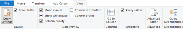 Power Query Column Preview Settings