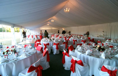Red and white theme with chair sashes in red