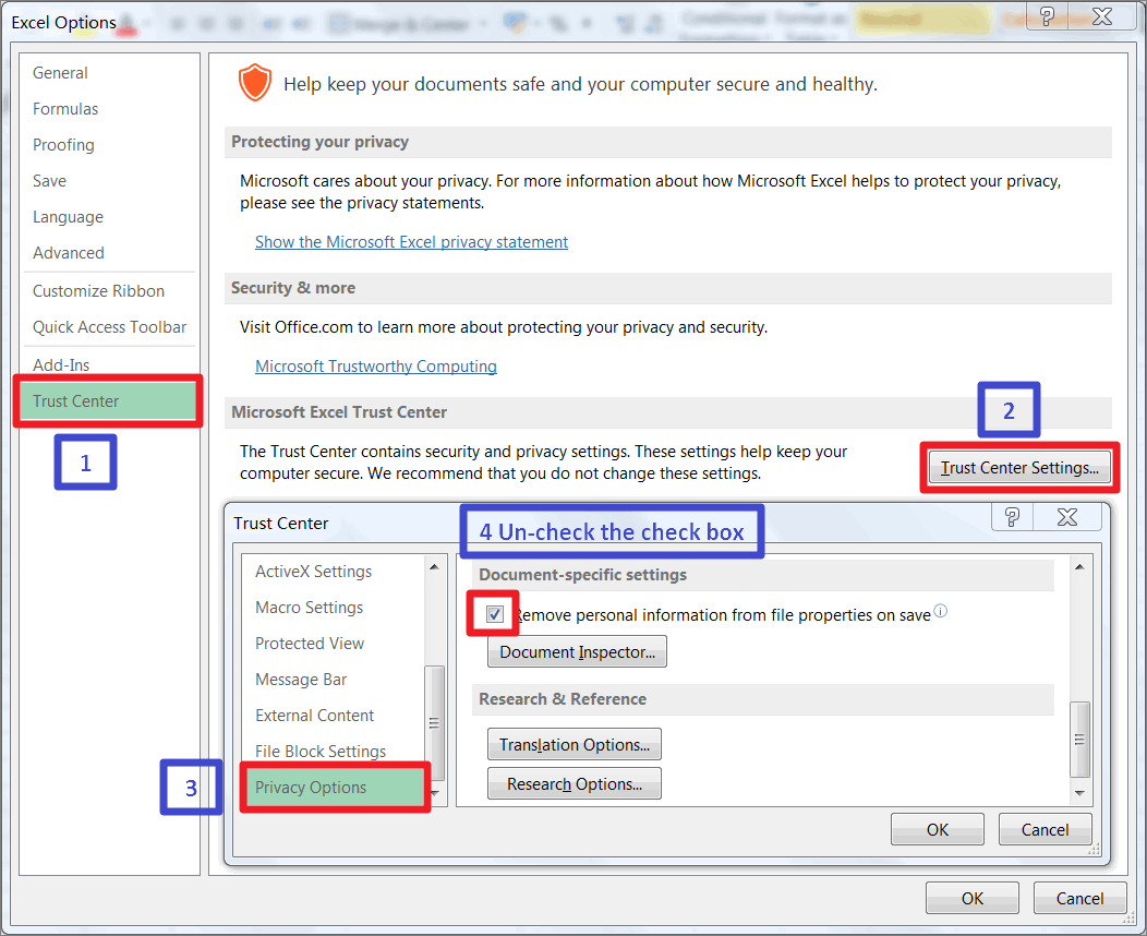 Excel Vba How To Remove Document Inspector Warning