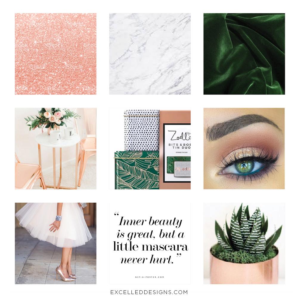 Feminine Moodboard Design Green Rose Gold Pink Marble