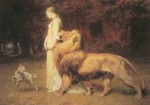 Una and the Lion from Edmund Spenser's The Faerie Queene- {{PD-US}} – published in the US before 1923 and public domain in the US.