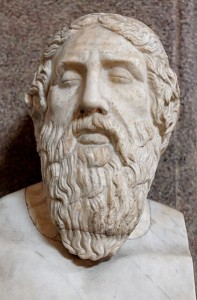 Bust of Homer from the Vatican Museum. Original artist unknown; photograph by Marie-Lan Nguyen, 2006.