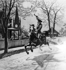 """Paul Revere's Ride"" (1860) by American poet HW Longfellow commemorates the 1775 ride of American patriot Paul Revere."