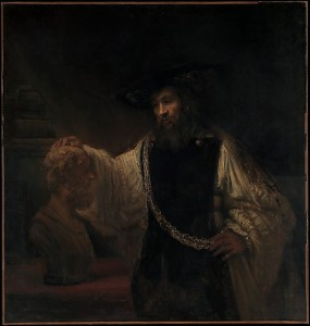 Aristotle with a Bust of Homer, 1653, Rembrandt (Rembrandt van Rijn), from the Metropolitan Museum of Art. Purchase, special contributions and funds given or bequeathed by friends of the Museum, 1961 (61.198). Image © The Metropolitan Museum of Art.