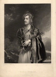 """Lord Byron in his Albanian """"dress"""" (costume); he had visited Albania in 1809, on his Mediterranean tour."""