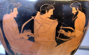 Lyre players are depicted on many ancient Greek vases.