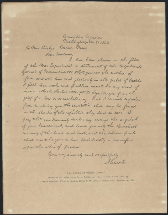 A facsimile of the Abraham LIncoln letter to Mrs. Bixby, 1864