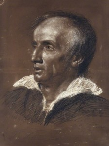 This chalk drawing of William Wordworth was made by Benjamin Robert Haydon in 1818; the image comes from the National Portrait Gallery in London.