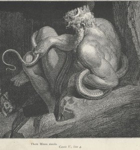 """Gustave Doré, Canto V """"There Minos stands."""" (line 4) www.gutenberg.org"""