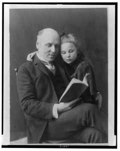 Howard Pyle with his daughter Phoebe between 1890(?) and 1900, photographed by Frances Benjamin Johnston From the Library of Congress: www.loc.gov LC-USZ62-128031 (b&w film copy neg.)