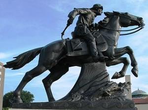 Pony Express statue in St. Joseph, Missouri;