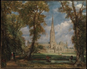 "John Constable painted a beautiful English scene showing ""Salisbury Cathedral from the Bishop's Grounds."" This painting comes from The Metropolitan Museum of Art."