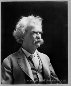 Mark Twain, as photographed by A.F. Bradley, c. 1907, from the Library of Congress.