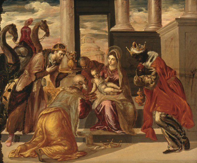 """Adoration of the Magi"" by El Greco seems a fitting illustration for T. S. Eliot's poem, ""Journey of the Magi."""