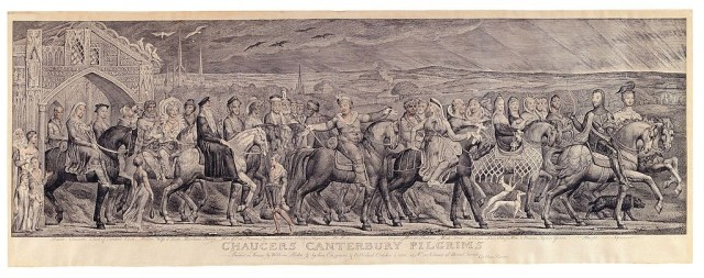 Chaucer's Canterbury Pilgrims Copper engraving, with additions in watercolor by William Blake.