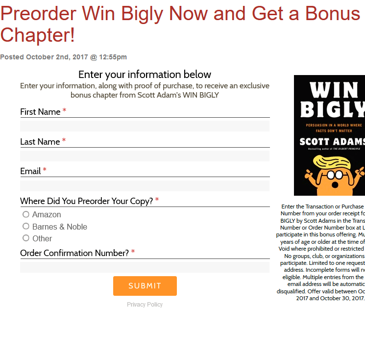 Bonus Chapter Preorder Win Bigly