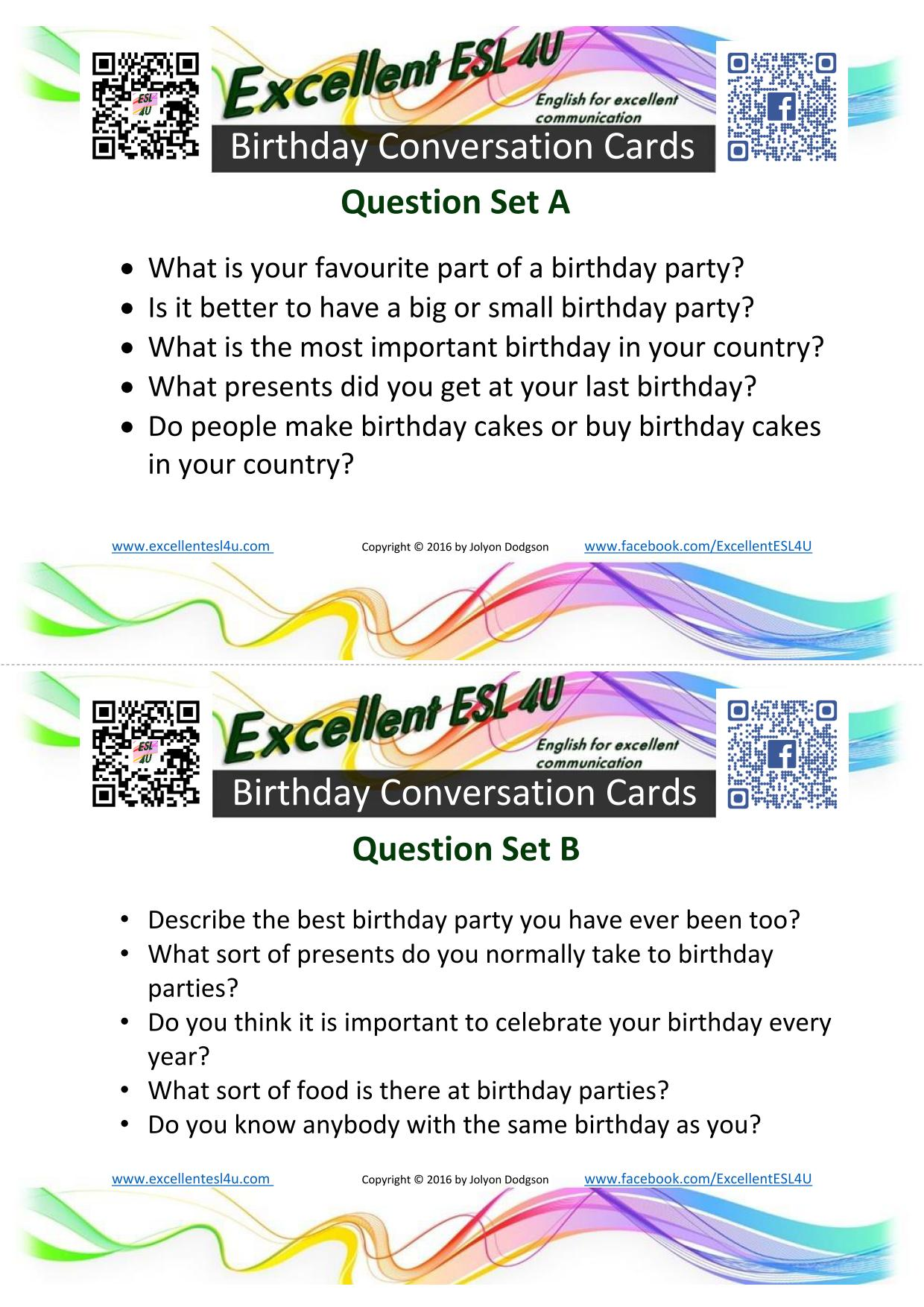 Esl Birthday Conversation