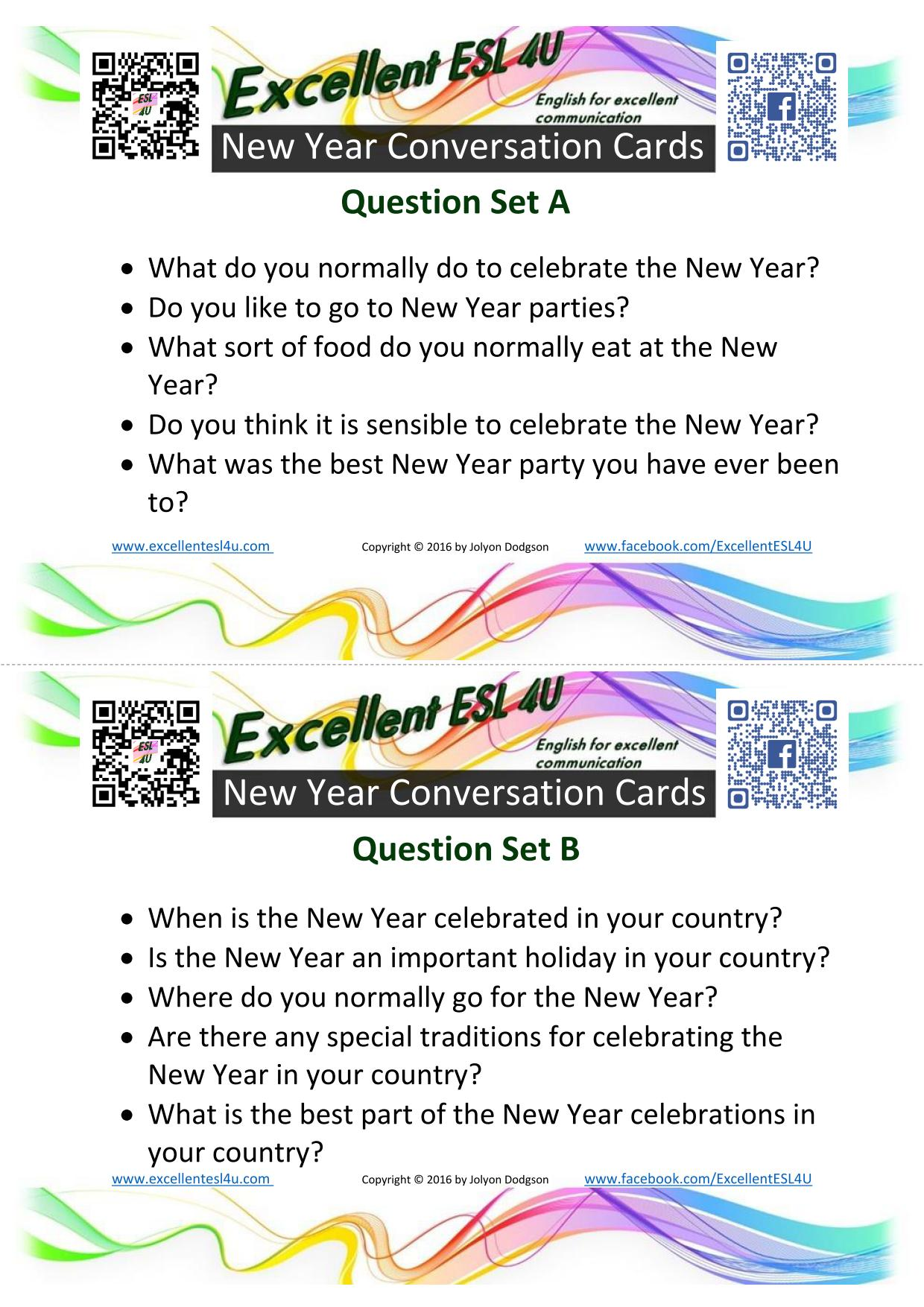 Esl New Year Conversation