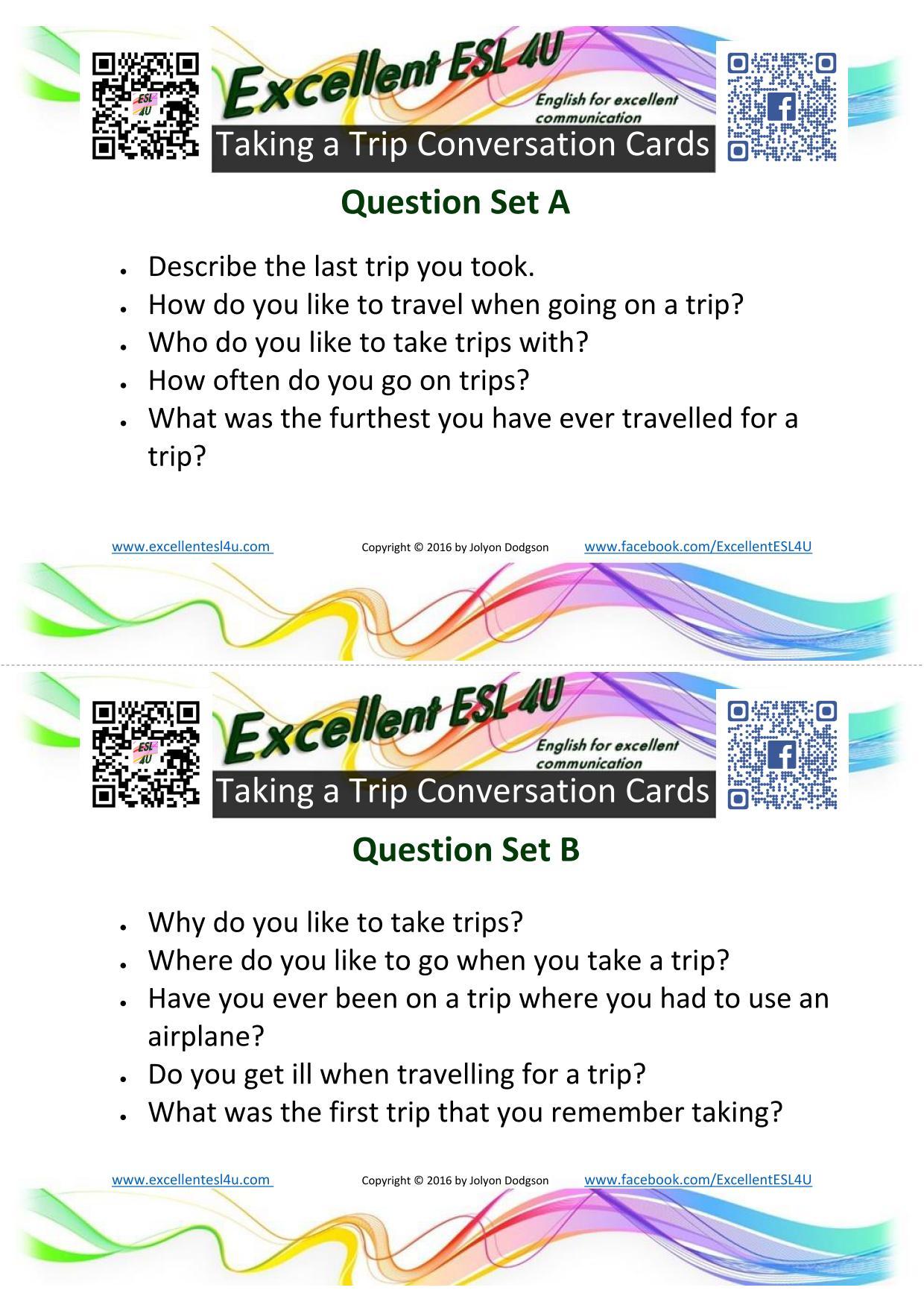 Esl Taking A Trip Conversation