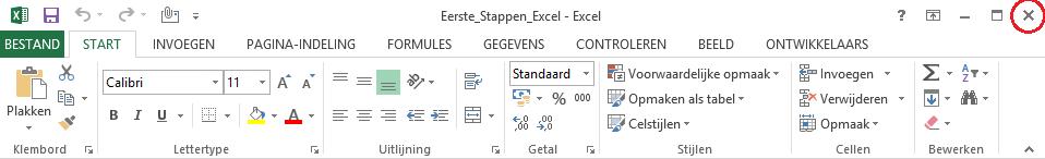 Excel afsluiten