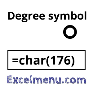Degree symbol in cell