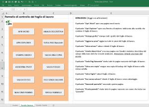 pannello gestione foglio di lavoro automatizzato con le macro della toolbox di Excel Professionale