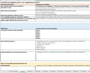 checklist registratore di macro