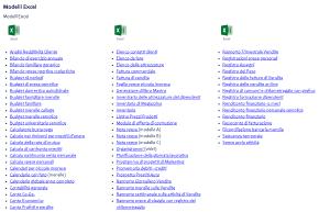 Collezione di modelli Excel
