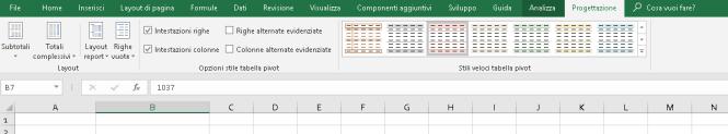 Scheda progettazione tabelle pivot