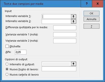 Finestra TestZ 2 campioni per medie analisi statistica