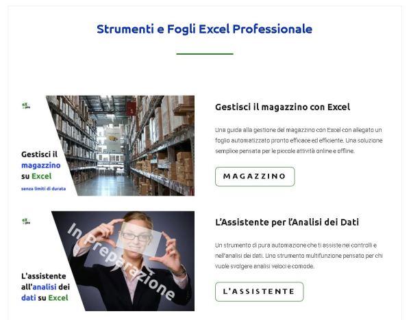 pagina strumenti di Excel Professionale