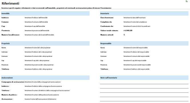 Pagina riferimenti del foglio per l'inventario di casa e ufficio